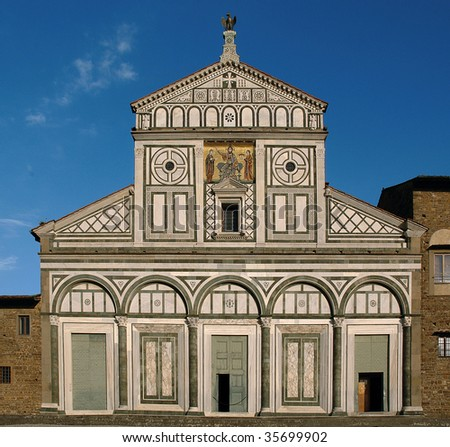 Florence,Tuscany,Italy,church of St.Miniato al Monte, the facade