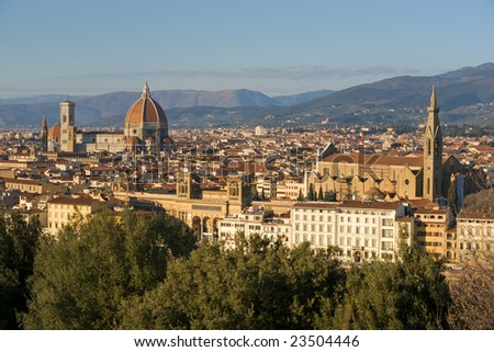 Florence, view of Duomo and Giotto's bell tower, and Santa croce from Piazzale Michelangelo. - stock photo
