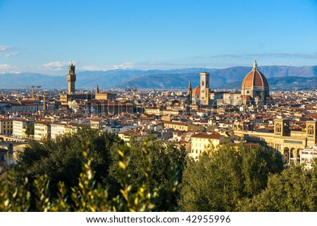 Florence, view of Duomo, Giotto's bell tower and Palazzo vecchio from Piazzale Michelangelo. - stock photo