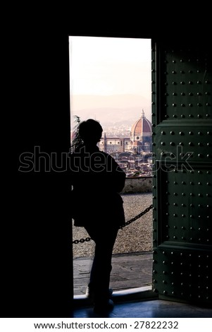 Florence viewed from the doorway of a church
