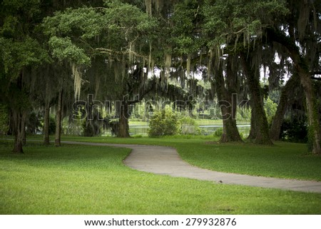 Florida evenings are great even if you are not by any beach. This green way wraps around a local artificial pond in Tallahassee, FL.  - stock photo