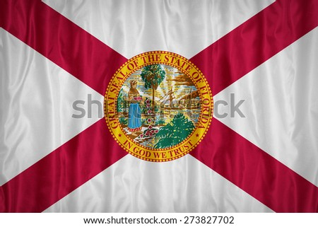 Florida flag pattern with a peace on fabric texture,retro vintage style - stock photo