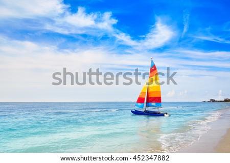Florida Fort Myers beach catamaran sailboat in USA - stock photo