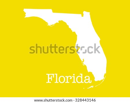 Florida state outline illustration, white state on yellow background