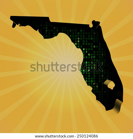Florida sunburst map with hex code illustration