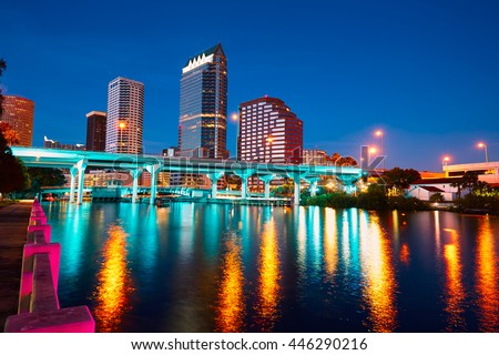 Florida Tampa skyline at sunset from Hillsborough river in US - stock photo