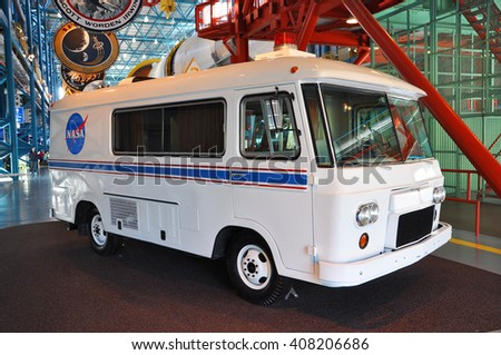 FLORIDA, USA - DEC 20: Apollo astronaut van carried the space astronauts to the Saturn V rockets in launch pad, Kennedy Space Center Visitor Complex on Dec. 20, 2010 in Cape Canaveral, Florida, USA. - stock photo