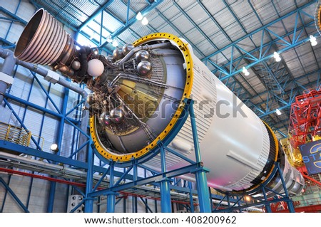 FLORIDA, USA - DEC 20: Saturn V Rocket stage III displayed in Apollo/Saturn V Center, Kennedy Space Center Visitor Complex on Dec. 20, 2010 in Cape Canaveral, Florida, USA. - stock photo