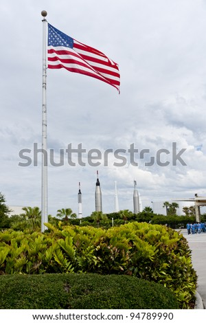 FLORIDA, USA - JUNE 4: The Rocket Garden at Kennedy Space Center features authentic rockets from past space explorations on June 4, 2010 in Orlando, Florida. - stock photo