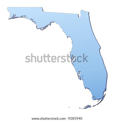 Blue Gradient Florida Map Usa Detailed Stock Illustration - Map of florida usa