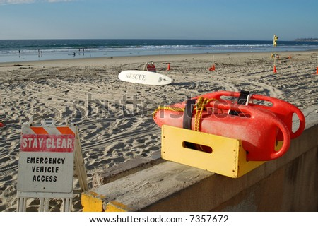 Flotation devices for water rescues; Mission Beach; San Diego, California - stock photo