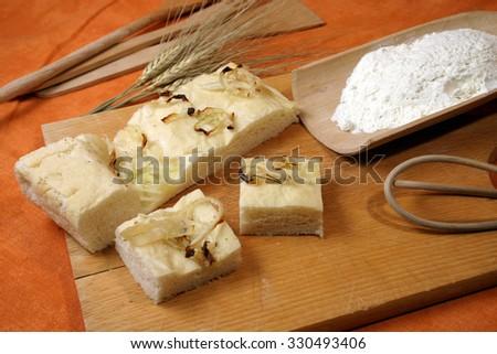 flour and bread typical Italian stuffed Tuscany Italy - stock photo