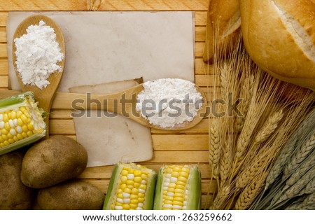 Flour and starch products out of which these ingredients. - stock photo