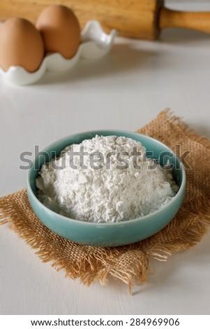 flour  food ingredient put on vintage white table - stock photo