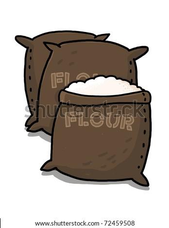 Flour sacks illustration; Brown flour bags drawing - stock photo
