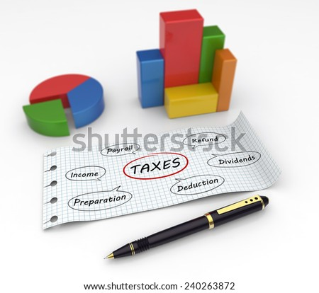 Flow chart with words about taxes - stock photo