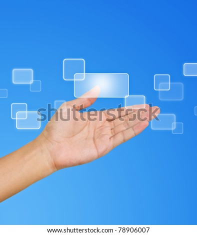 Flow of buttons on hand on blue background - stock photo