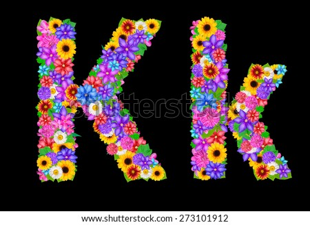 Flower alphabet isolated on black - stock photo