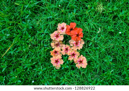 Flower alphabet letter r letters made stock photo edit now flower alphabet letter r letters made of flowers on green grass background altavistaventures Choice Image