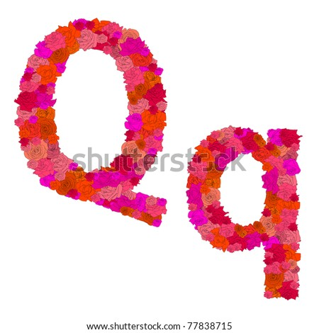 Flower alphabet of red roses, characters Q-q - stock photo
