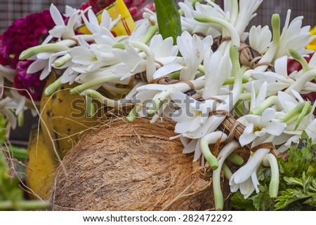 flower and fruits in indian temple  - stock photo