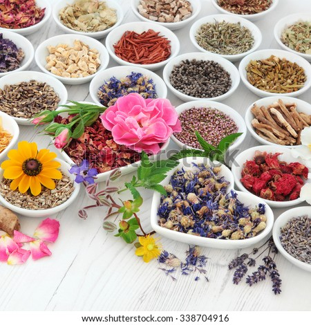 Flower and herb selection used in herbal medicine in porcelain bowls over distressed wooden background. Selective focus. - stock photo