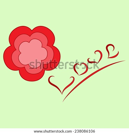 Flower-and-love picture - stock photo