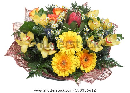 Flower Arrangement large mixed floral bouquet of yellow gerberas, pale yellow orchids, artichokes, orange roses, feverweed, daisies and ferns, isolated on white background. - stock photo