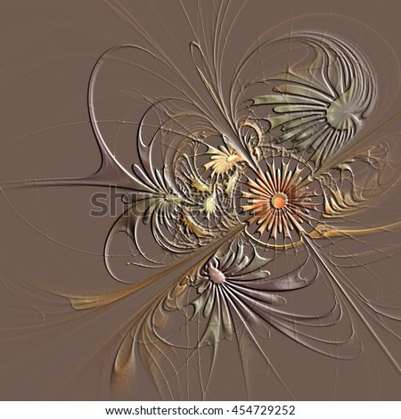 Flower background in fractal design with embossed effect. Artwork for creative design, art and entertainment.