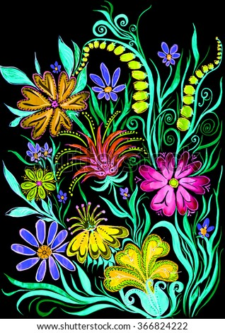 flower background on black - watercolor painting on paper - stock photo
