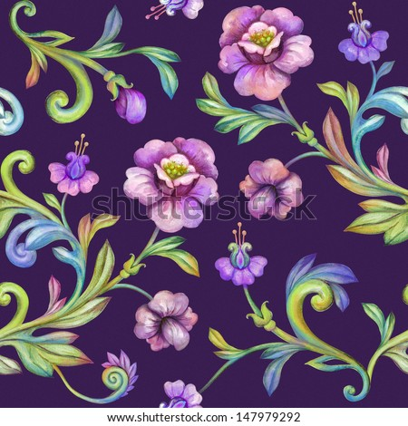 flower background, seamless floral pattern, watercolor drawing isolated on dark - stock photo