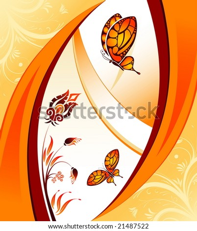 Flower background with butterfly, element for design, illustration