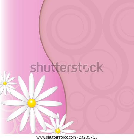 Flower background with tone on tone swirls - stock photo