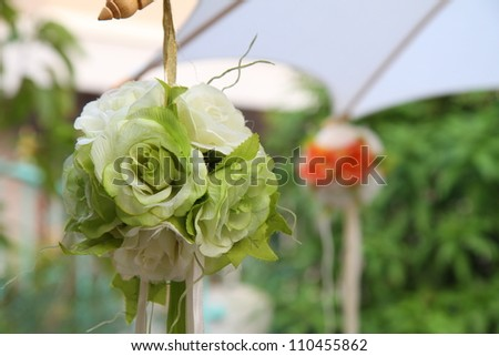 Flower ball arrangrment ready for wedding - stock photo