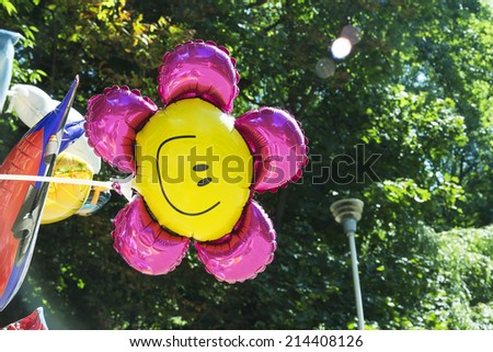 flower balloon in the park - stock photo