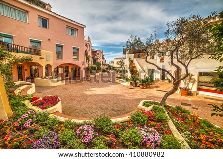 flower bed in Porto Cervo, Sardinia - stock photo