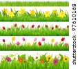 Flower Borders Set - stock vector