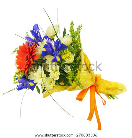 Flower bouquet from multicolored gerbera, iris and other flowers isolated on white background. Closeup. - stock photo