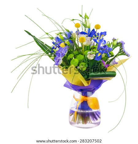 Flower bouquet from roses, green carnation, iris and statice flowers in glass vase isolated on white background. Closeup. - stock photo