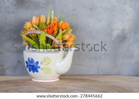 flower bouquet on wooden table - stock photo