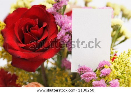 flower bouquet with card - stock photo
