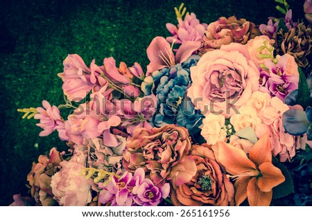 Flower bouquet with vintage filter - stock photo