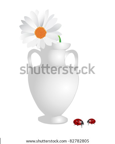 Flower bowl with camomile and ladybirds - stock photo