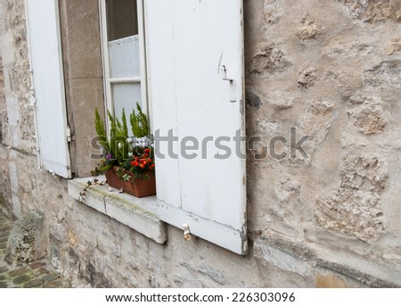 Flower box with red decorative peppers and white cyclamens on the window of antique house with wooden shutters. Selective focus on the plants and the left shutter. - stock photo