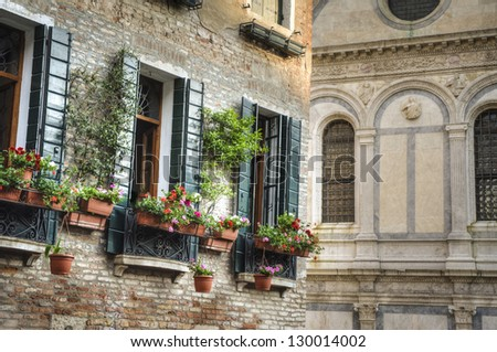 Flower boxes below a window in Venice, Italy - stock photo