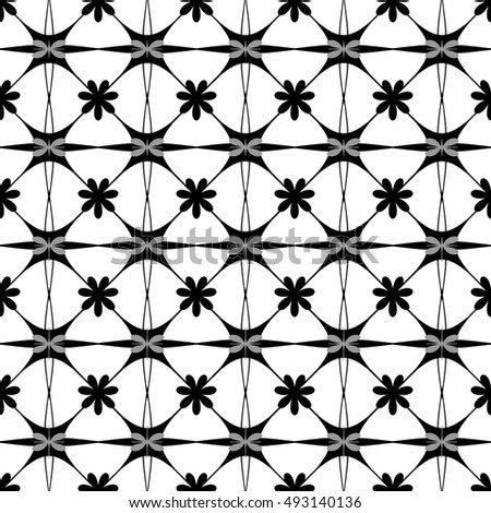 Flower butterfly seamless pattern. Fashion graphic background design. Modern stylish abstract texture. Monochrome template for prints, textiles, wrapping, wallpaper, website etc. illustration