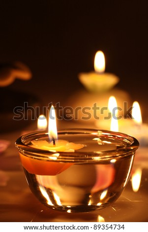flower candles - stock photo