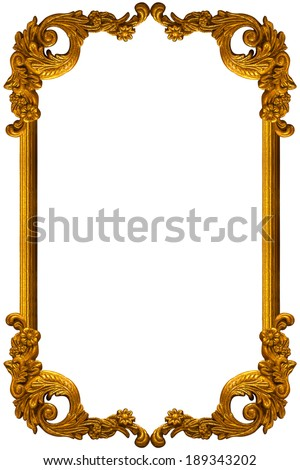 flower carved frame on white background - stock photo