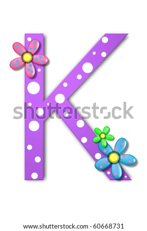 Flower Child Alphabet Set K is polka dotted and decorated with pink and blue flowers.