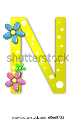 Flower Child Alphabet Set N is polka dotted and decorated with pink and blue flowers.